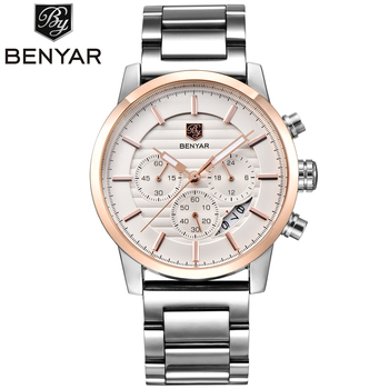 BENYAR Chronograph Stainless Steel Watch Men Calender Water Resistant Formal Wristwatches Man's Casual Male Clock Montre Homme