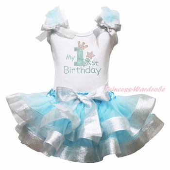 Birthday Blue Sliver Number 1-6 Petal Skirt Girl Outfit Set Costume Nb-8y LKPO0003