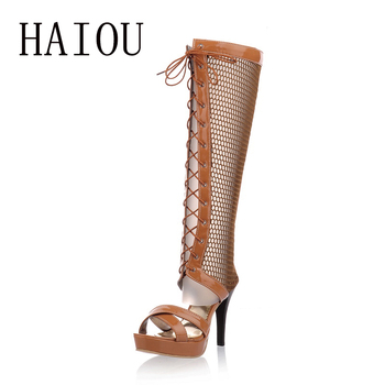 HAIOU 2017 woman high hollow sandals lace up black knee high gladiator sandals gladiator platform wedge sandals woman peep toe
