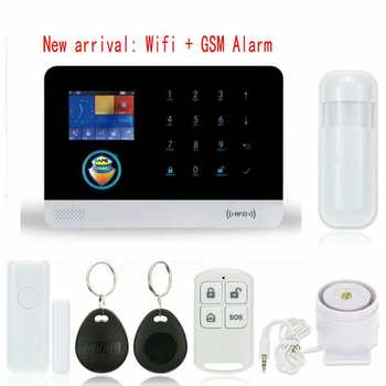 New Black Color WIFI & GSM/3G/GPRS Intranet Alarm System with Free APP for Remote Monitor & Controlling with PIR & Door Sensor