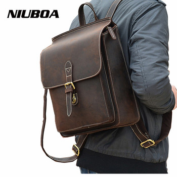 NIUBOA Genuine Leather Backpacks Man Crazy Horse Leather Travel Backpacks A4 Size Small Casual School Shoulder Bags