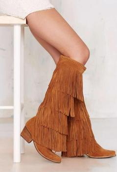 MIQUINHA 2017 Fashion Camel Suede Leather Women Knee High Boots Sexy Pointy Toe Ladies Fringe Boots Bohemia Style Boots