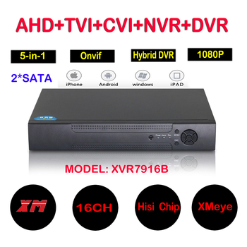 16Ch 1080P CCTV DVR NVR HVR Support 5 IN 1 AHD CVI TVI CVBS IP Camera Onvif 3MP 5MP NVR P2P View Support RS485 Coxial Control