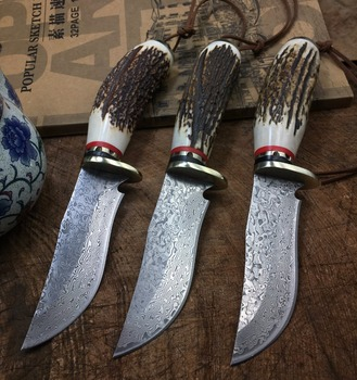 High-end antlers Damascus Knife Corrugated Steel Fixed Blade Hunting Knife Tactical Survival knives 6031#